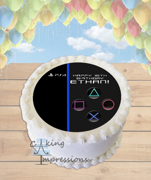 Playstation 4 Console Edible Frosting Image Cake Topper ROUND