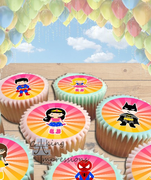 Superheroes Clipart Edible Frosting Image Cake Topper CUPCAKES