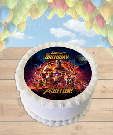 Avengers Infinity War Edible Frosting Image Cake Topper [ROUND]