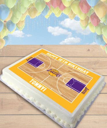 Basketball Court CHOOSE TEAM Edible Frosting Image Cake Topper [SHEET]