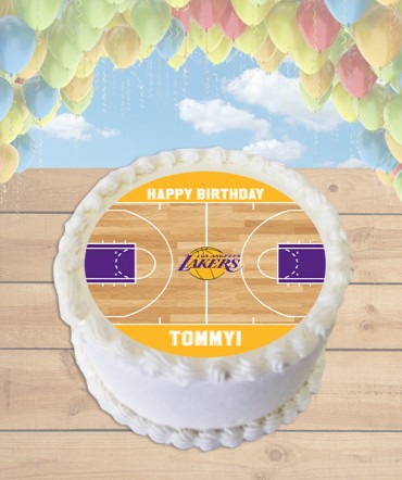 Basketball Court CHOOSE TEAM Edible Frosting Image Cake Topper [ROUND]