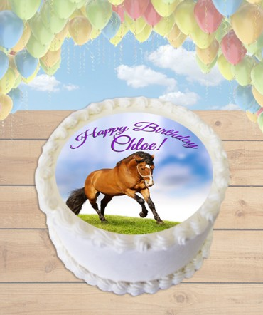 Bay Horse Edible Frosting Image Cake Topper [ROUND]