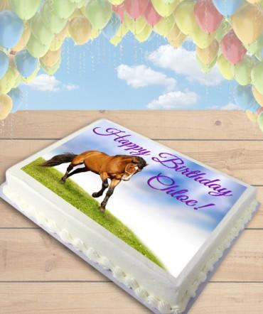 Bay Horse Edible Frosting Image Cake Topper [SHEET]