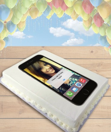 iPhone Custom Selfie Edible Frosting Image Cake Topper [SHEET]