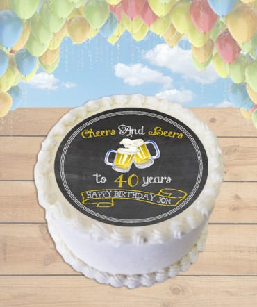 Cheers and Beers Edible Frosting Image Cake Topper [ROUND]