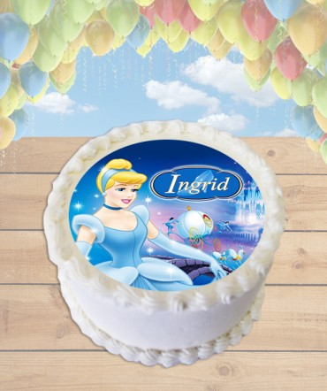 Classic Cinderella Edible Frosting Image Cake Topper [ROUND]