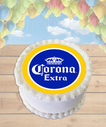 Corona Extra Beer Bottle Cap Edible Frosting Image Cake Topper [ROUND]
