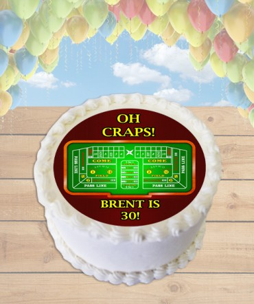 Oh Craps! Craps Table Edible Frosting Image Cake Topper [ROUND]