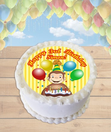 Curious George Edible Frosting Image Cake Topper [ROUND]