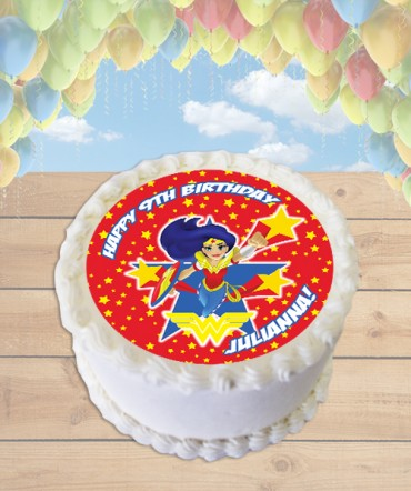 DC Superhero Girls Wonder Woman Edible Frosting Image Cake Topper [ROUND]