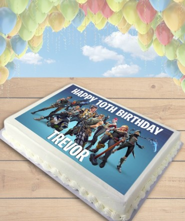 Fortnite Battle Royale Blue Edible Frosting Image Cake Topper [SHEET]