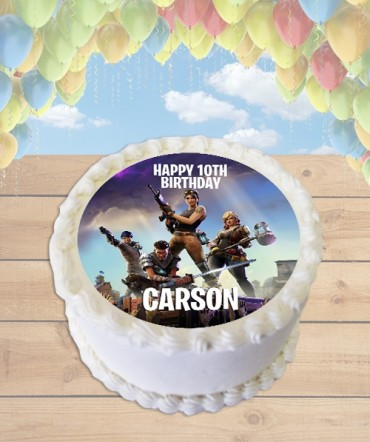 Fortnite Video Game Edible Frosting Image Cake Topper [ROUND]