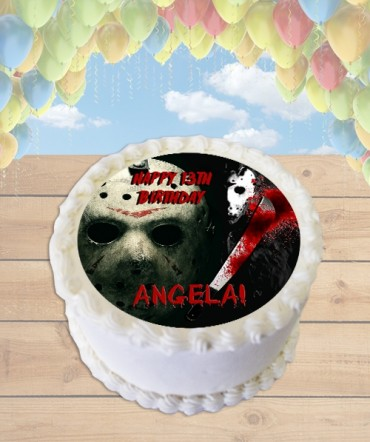 Friday the 13th Jason Horror Edible Frosting Image Cake Topper [ROUND]
