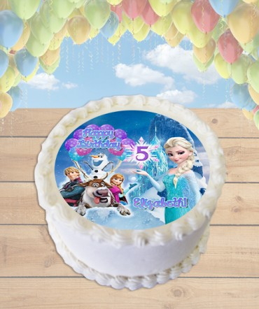 Frozen Elsa Ice Castle Edible Frosting Image Cake Topper [ROUND]
