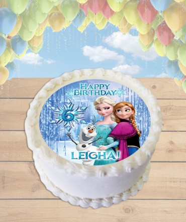 Frozen Elsa, Anna, and Olaf Edible Frosting Image Cake Topper [ROUND]