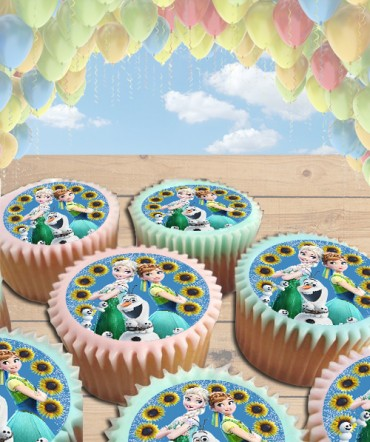 Frozen Fever Edible Frosting Image Cake Topper Sunflowers [CUPCAKES]