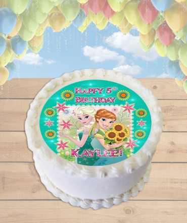 Frozen Fever Pink Flowers Edible Frosting Image Cake Topper [ROUND]