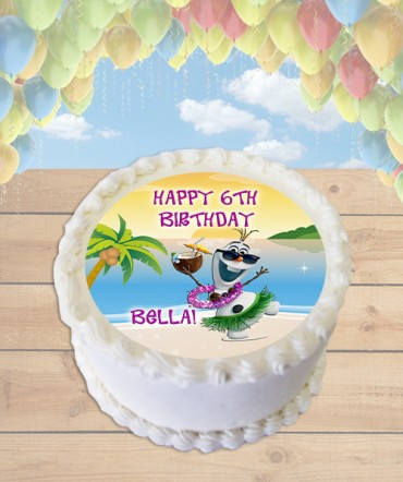 Olaf In Summer Beach Party Edible Frosting Image Cake Topper ROUND