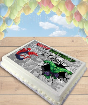Hulk and Spiderman Comic Strip Edible Frosting Image Cake Topper [SHEET]