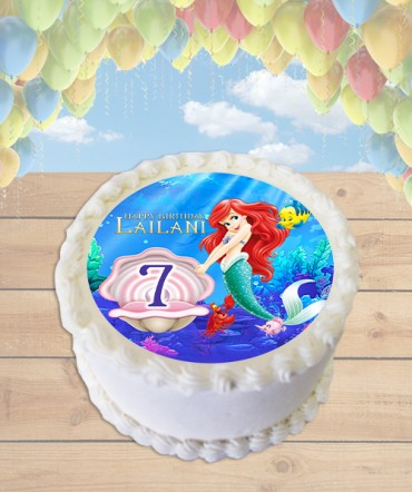 The Little Mermaid Edible Frosting Image Cake Topper [ROUND]