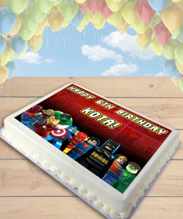 MARVEL vs DC LEGO Superheroes Edible Frosting Image Cake Topper [SHEET]
