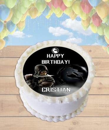 Mortal Kombat X CHOOSE PLAYER Edible Frosting Image Cake Topper [ROUND]