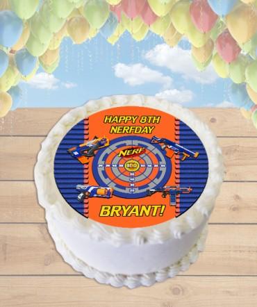 NERF Gun Edible Frosting Image Cake Topper [ROUND]
