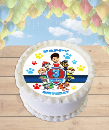 Paw Patrol Badge Edible Frosting Image Cake Topper [ROUND]