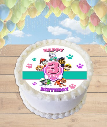 Paw Patrol Badge Pink Edible Frosting Image Cake Topper [ROUND]