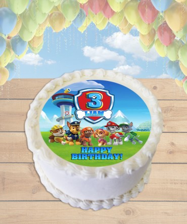 Paw Patrol All Dogs Edible Frosting Image Cake Topper [ROUND]