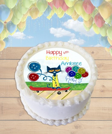 Pete the Cat Groovy Buttons Edible Frosting Image Cake Topper [ROUND]