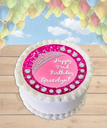 Glittery Pink Princess Tiara Edible Frosting Image Cake Topper [ROUND]