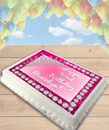 Glittery Pink Princess Tiara Edible Frosting Image Cake Topper [SHEET]