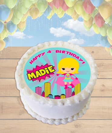 Supergirl Clipart Edible Frosting Image Cake Topper [ROUND]