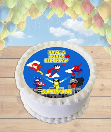 Superheroes in Action Clipart Edible Frosting Image Cake Topper [ROUND]