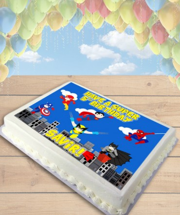 Superheroes in Action Clipart Edible Frosting Image Cake Topper [SHEET]