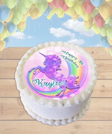 Unicorn Rainbow Sparkles Edible Frosting Image Cake Topper [ROUND]