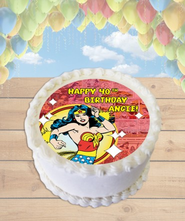 Wonder Woman Comic Strip Edible Frosting Image Cake Topper [ROUND]