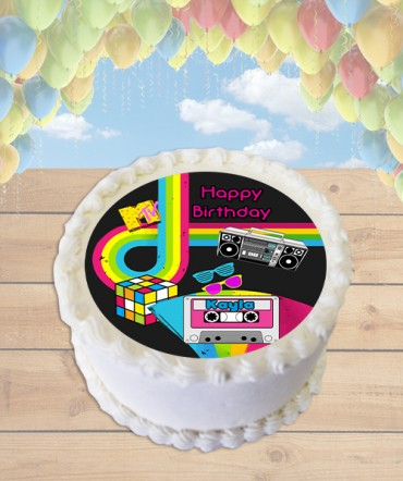 80's Party Themed Edible Frosting Image Cake Topper [ROUND]