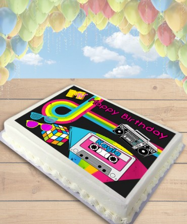 80's Party Themed Edible Frosting Image Cake Topper [SHEET]