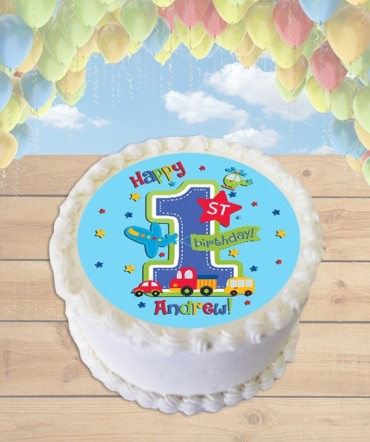 All Aboard Cars Edible Frosting Image Cake Topper [ROUND]