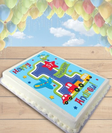 All Aboard Cars Edible Frosting Image Cake Topper [SHEET]