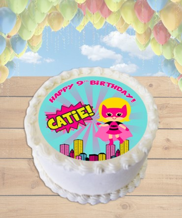 Batgirl Clipart Edible Frosting Image Cake Topper [ROUND]
