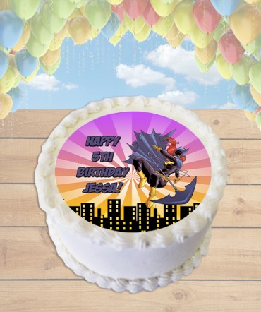 Batgirl Edible Frosting Image Cake Topper [ROUND]