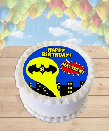 Batman Symbol Edible Frosting Image Cake Topper [ROUND]