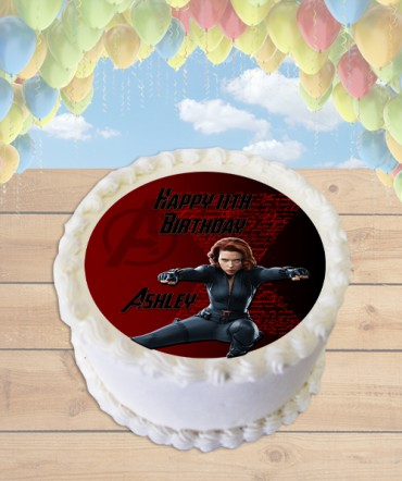 Black Widow Avengers Edible Frosting Image Cake Topper [ROUND]