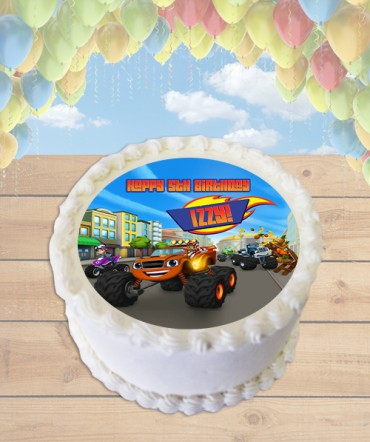 Blaze and the Monster Machines Edible Frosting Image Cake Topper [ROUND]