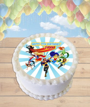 DC Superhero Girls Edible Frosting Image Cake Topper [ROUND]