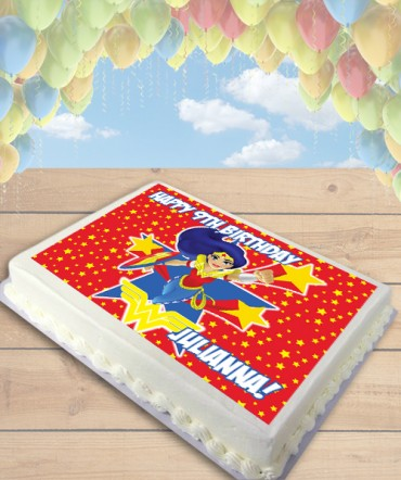 DC Superhero Girls Wonder Woman Edible Frosting Image Cake Topper [SHEET]