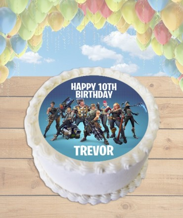 Fortnite Battle Royale Blue Edible Frosting Image Cake Topper [ROUND]
